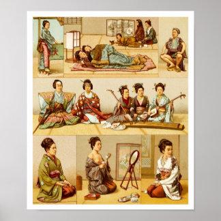 Japansk livsstil på traditionella matta golv poster