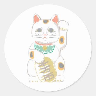 Japansk lycklig katt runt klistermärke
