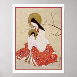 Japansk Madonna och barnvintage Poster