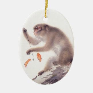 Japansk målning för apa - år av apan julgransprydnad keramik