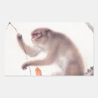 Japansk målning för apa - år av apan rektangulärt klistermärke