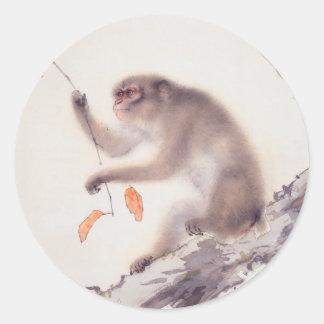Japansk målning för apa - år av apan runt klistermärke