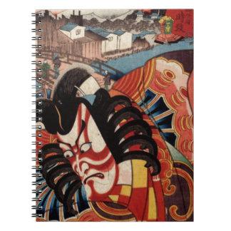 Japansk målning för vintage - Kabuki skådespelare Anteckningsbok Med Spiral