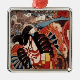 Japansk målning för vintage - Kabuki skådespelare Julgransprydnad Metall