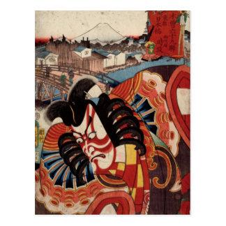 Japansk målning för vintage - Kabuki skådespelare Vykort