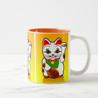 Japansk Maneki Neko kattmugg Två-Tonad Mugg