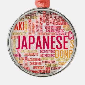 Japansk mat och cuisinemenybakgrund julgransprydnad metall