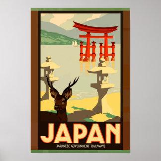 Japansk regerings- järnvägvintage resoraffisch poster