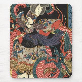 Japansk röd drake för vintage musmattor