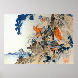 Japansk Samurai för vintage som bär hans häst Poster