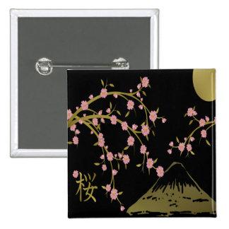 Japansk skärm för rosa Sakura guldsvart Standard Kanpp Fyrkantig 5.1 Cm