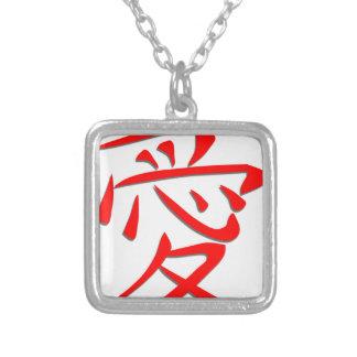 Japansk symbolkärlekKanji Silverpläterat Halsband
