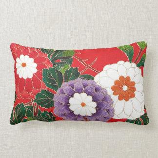 Japansk textil för vintage - röda Dahlias Prydnadskudde