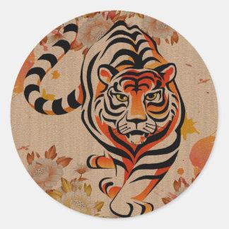 japansk tigerkonst runt klistermärke