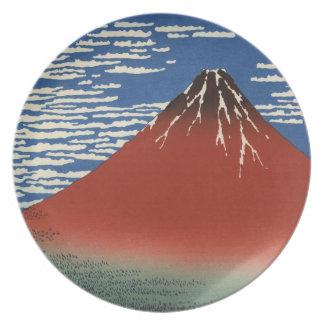 Japansk träkloss: Röd Fuji sydlig vind Tallrik
