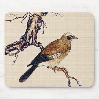 Japansk träsnitt av en Finch, en brunt och en Musmatta