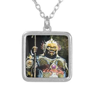 Japansk vintageBishamon gud av krig Silverpläterat Halsband