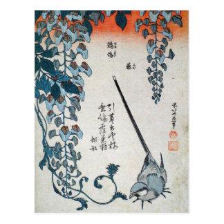 Japansk Wisteria och Wagtail (vid Hokusai) Vykort