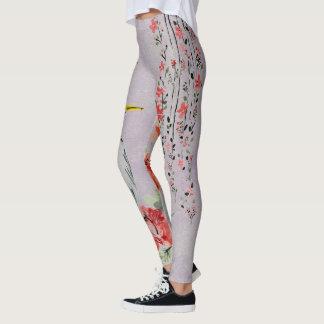 Japanska blom- Vines & krandesigndamasker Leggings
