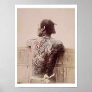 Japanska brudgum tatueringar, c.1880 (fotoet) poster