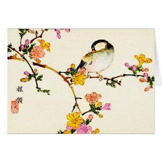 Japanska färgrika blommor & fågel hälsningskort