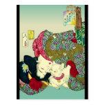 Japanska kvinnor och katt vykort