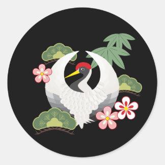 Japanska lyckliga symboler kyler elegantsvart runt klistermärke
