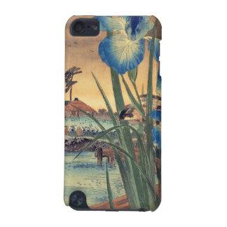 Japanska vintageukiyo-eblått iris och fågelplatsen