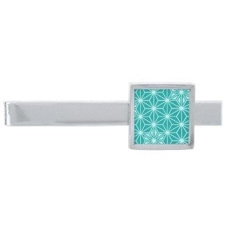 Japanskt Asanoha mönster - turkos Silverpläterad Slipsnål