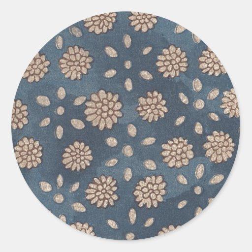 Japanskt blom- tyg 147 för vintage runda klistermärken