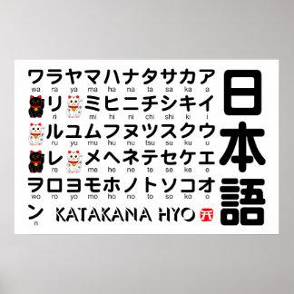 Japanskt bord för Katakana (alfabet) Poster