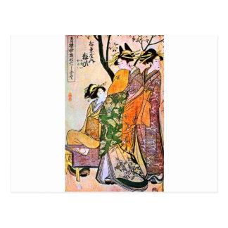 Japanskt Geishakonstverk för vintage Vykort
