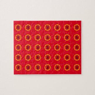 Japanskt Teasymbol, rött drakesymbol för cirkulär Pussel