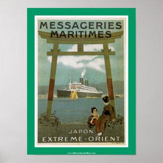"""""""Japon Ytterlighet-Orient"""" Messegeries Maritimes Poster"""