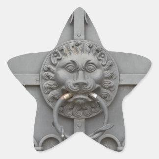Järndörr med lejont stjärnformat klistermärke