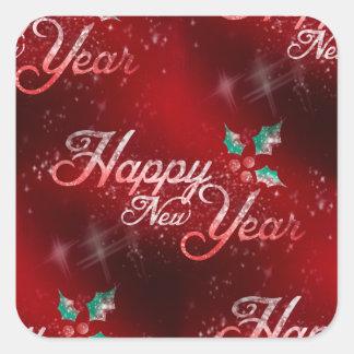 järnekgott nytt år fyrkantigt klistermärke