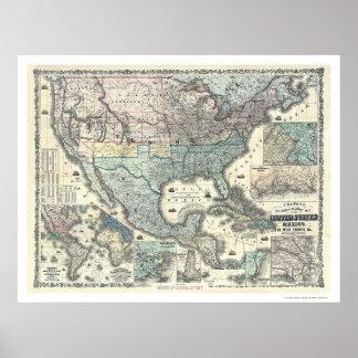 Järnväg & militär karta USA 1862 Poster