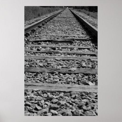 Järnväg spårar svartvitt affisch