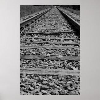 Järnväg spårar svartvitt poster