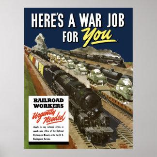 Järnvägarbetare som behövs Urgently Poster