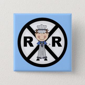 JärnvägIngenjör-Pojke T-tröja och gåvor Standard Kanpp Fyrkantig 5.1 Cm