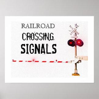 Järnvägkorsningen signalerar posters