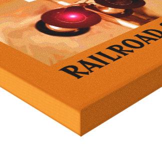 Järnvägkorsningen signalerar Sepia Kanvasdukar Med Gallerikvalitet