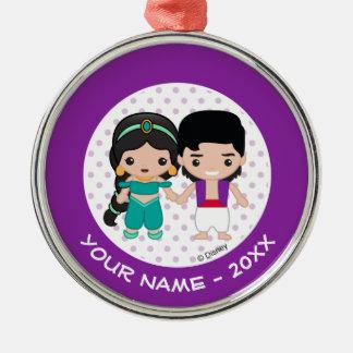 Jasminen och Aladdin Emoji tillfogar ditt namn Julgransprydnad Metall