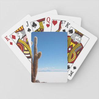Jätte- kaktus på det Salar de Uyuni däcket Casinokort