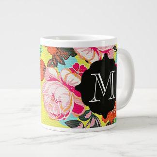 Jätte- mugg för flickaktigt blom- Paisley Monogram Jumbo Mugg
