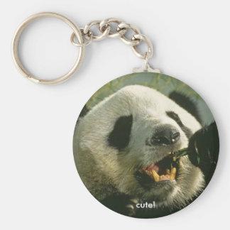 jätte-panda-äta som är gulligt! rund nyckelring