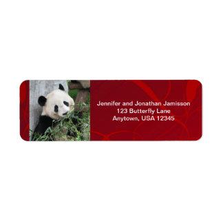 Jätte- Pandasreturetiketter som är röd Returadress Etikett