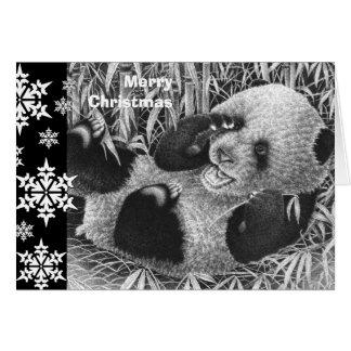 Jätte- Pandaungejulkort Hälsningskort