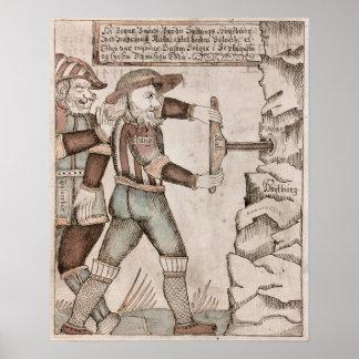 Jätten Baugi som övertalas av Odin Posters